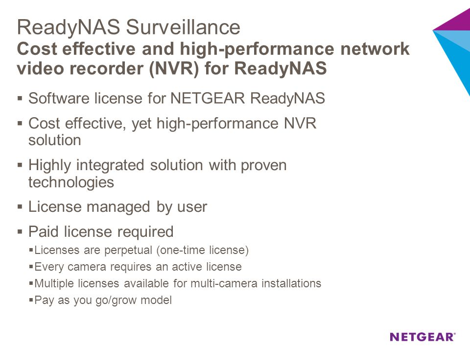 ReadyNAS Surveillance Cost effective and high-performance network video recorder (NVR) for ReadyNAS
