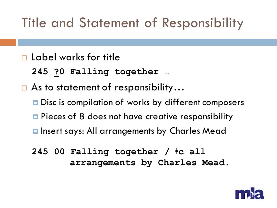 Title and Statement of Responsibility