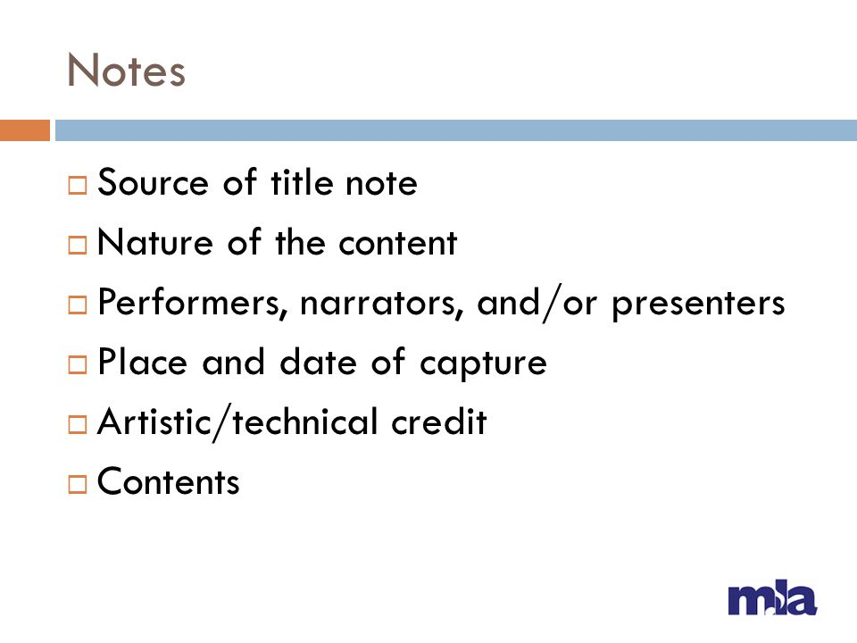 Notes Source of title note Nature of the content