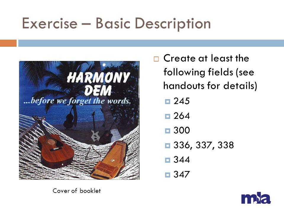 Exercise – Basic Description
