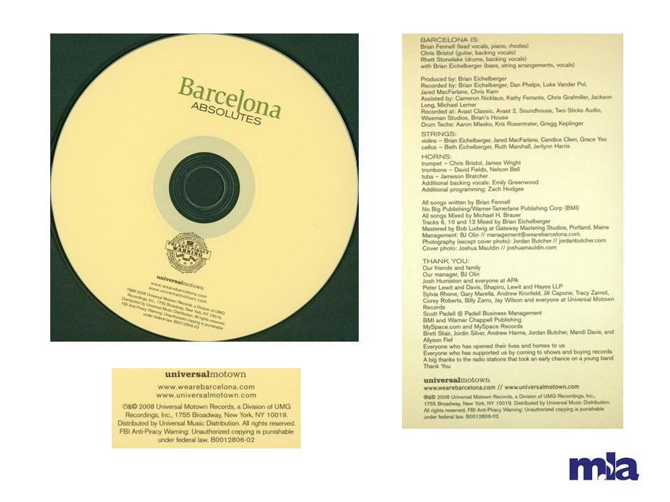 Scan of the CD, enlargement of area of disc label, and scan of last page of container insert.