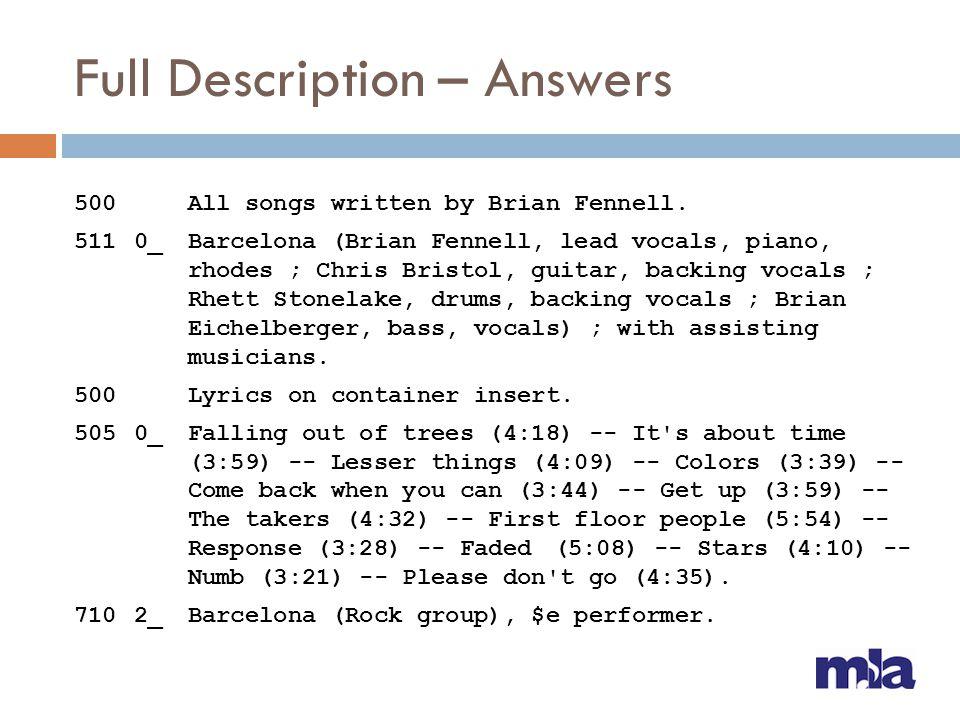 Full Description – Answers