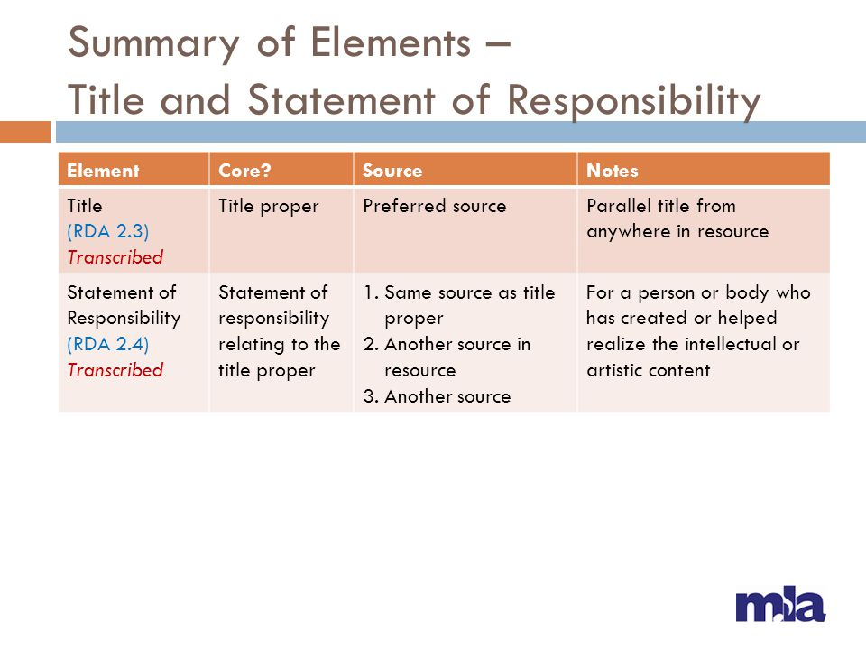 Summary of Elements – Title and Statement of Responsibility