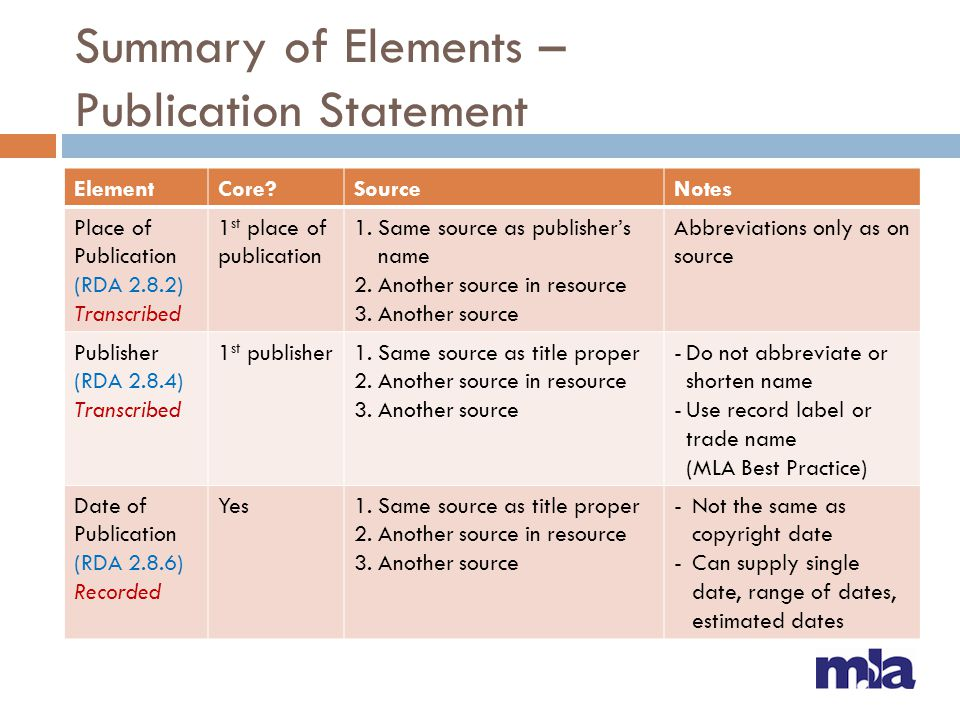Summary of Elements – Publication Statement