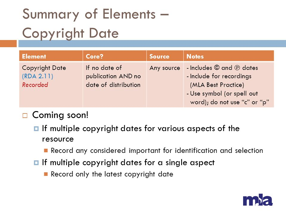 Summary of Elements – Copyright Date