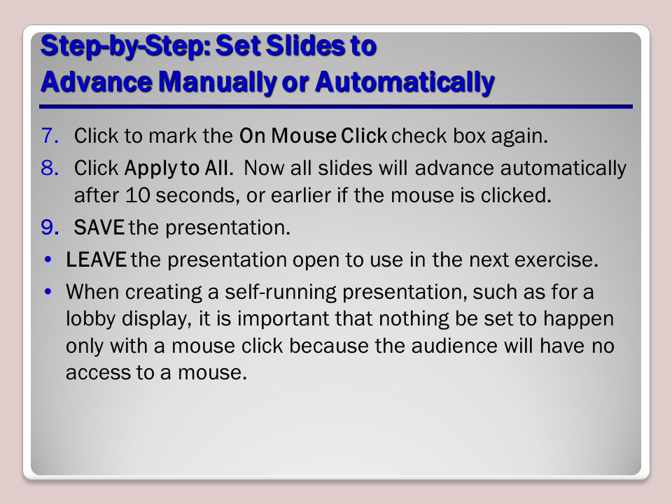 Step-by-Step: Set Slides to Advance Manually or Automatically