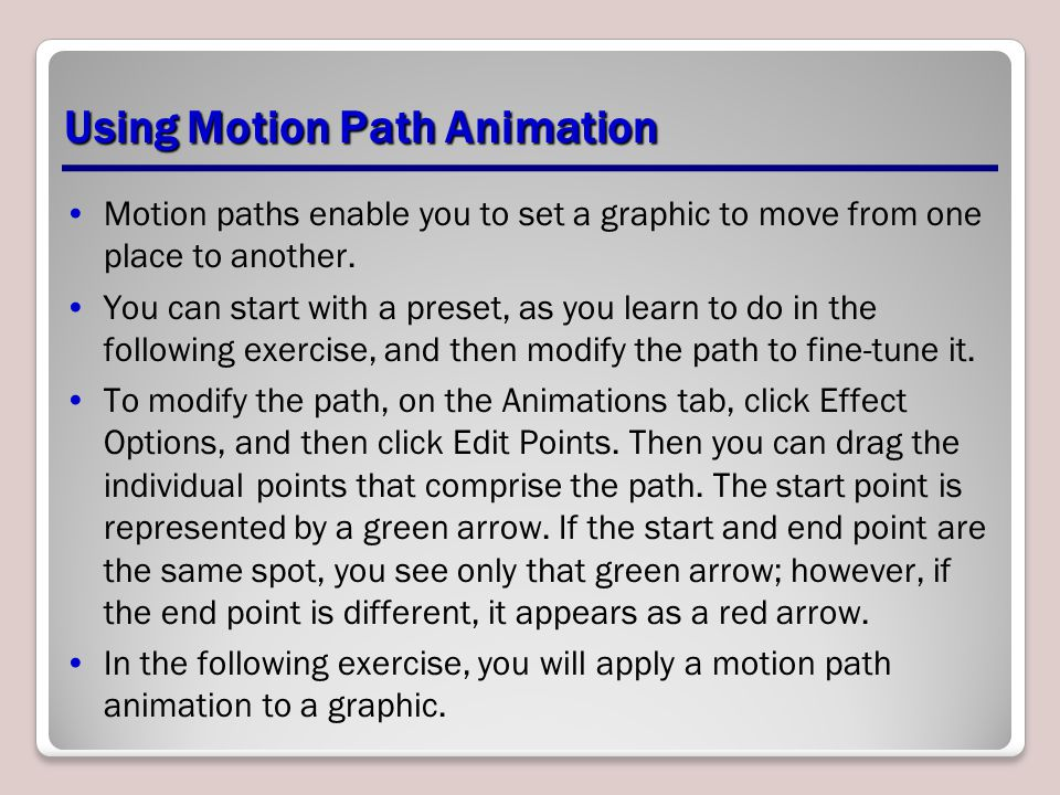Using Motion Path Animation