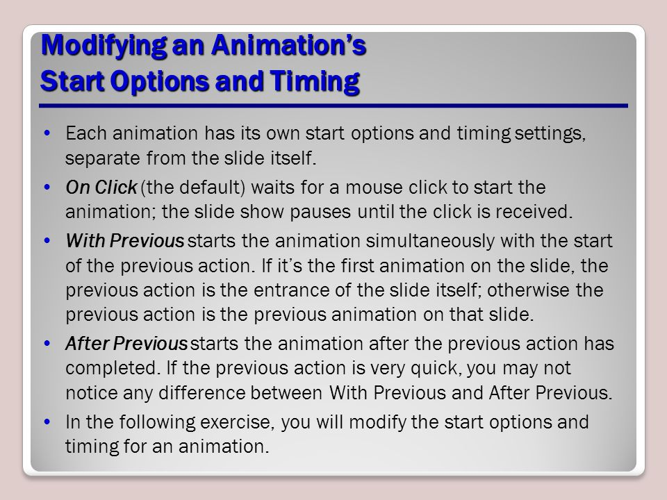 Modifying an Animation's Start Options and Timing