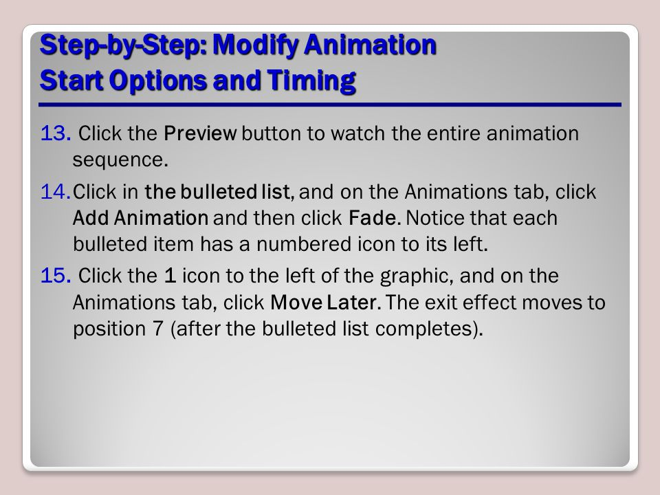 Step-by-Step: Modify Animation Start Options and Timing