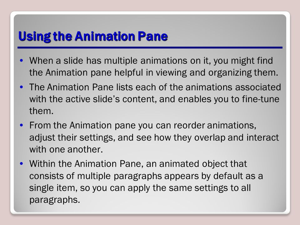 Using the Animation Pane