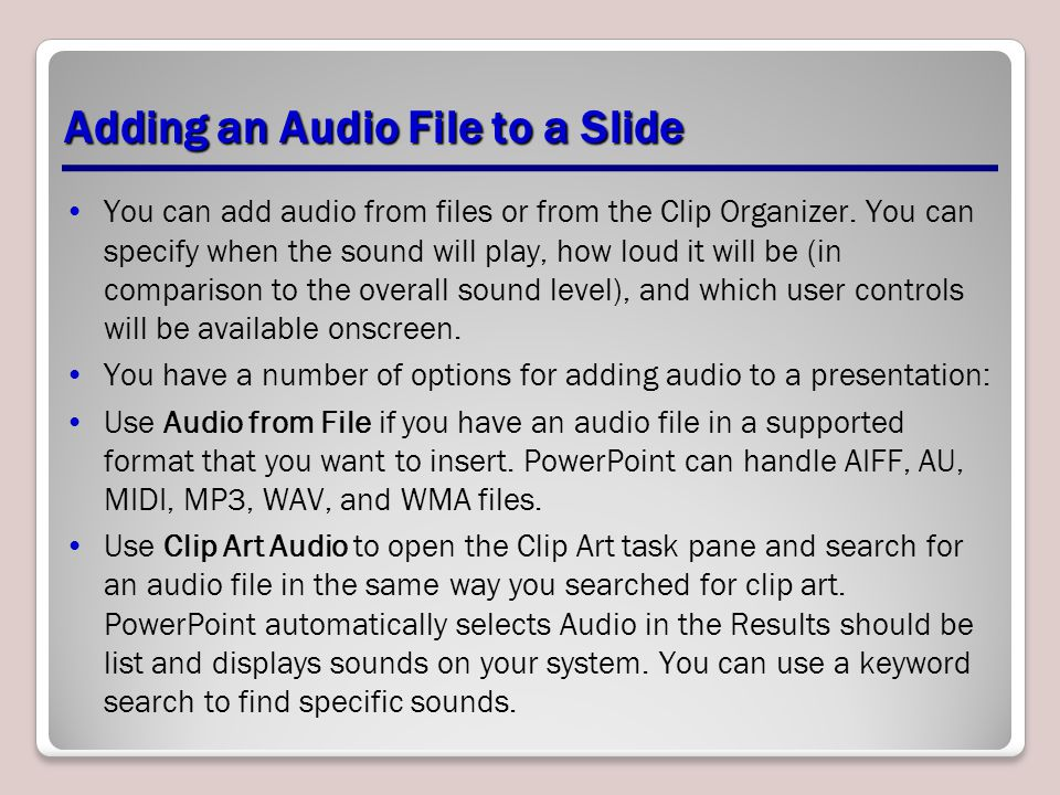 Adding an Audio File to a Slide