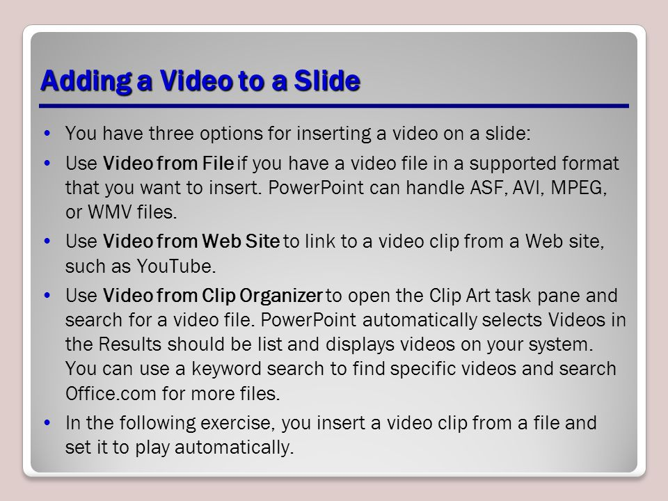 Adding a Video to a Slide