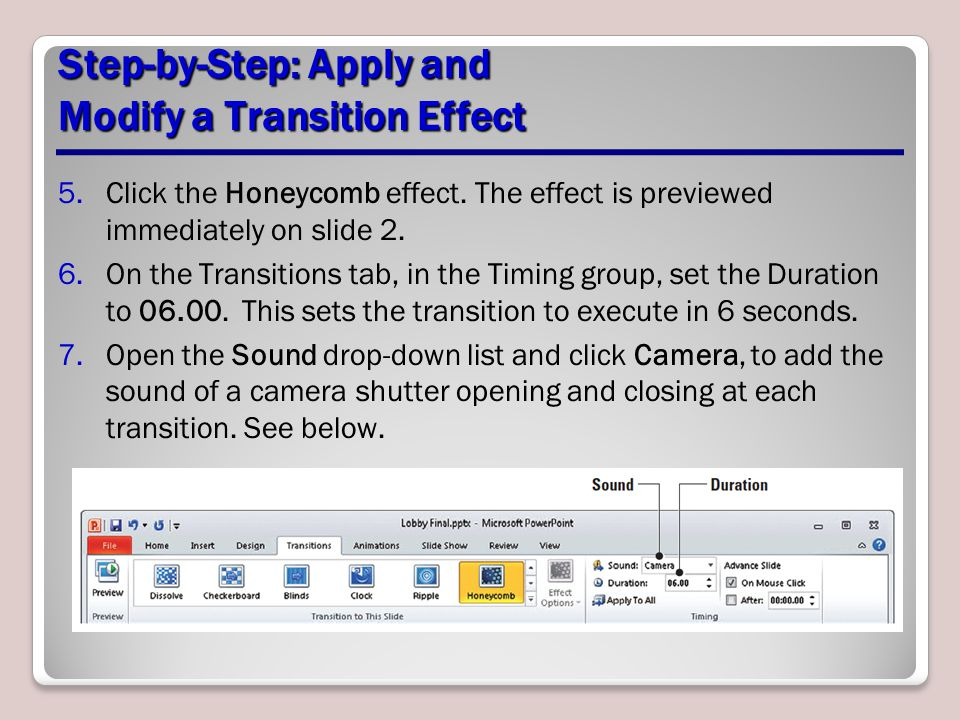 Step-by-Step: Apply and Modify a Transition Effect