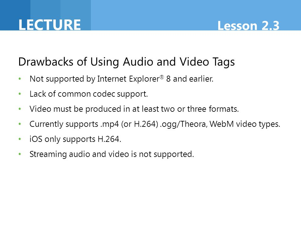 Lecture Lesson 2.3 Drawbacks of Using Audio and Video Tags