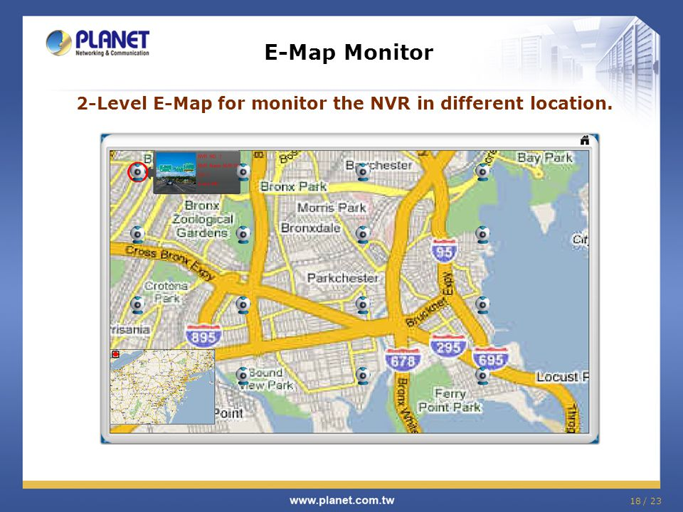 2-Level E-Map for monitor the NVR in different location.