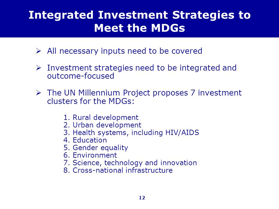 Integrated Investment Strategies to Meet the MDGs