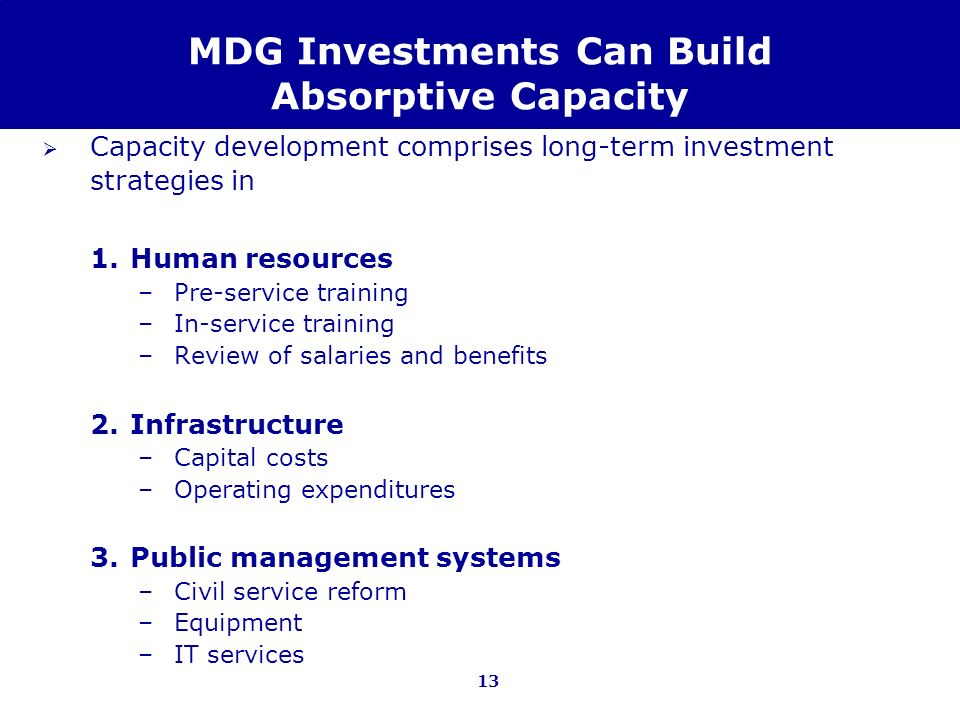 MDG Investments Can Build Absorptive Capacity