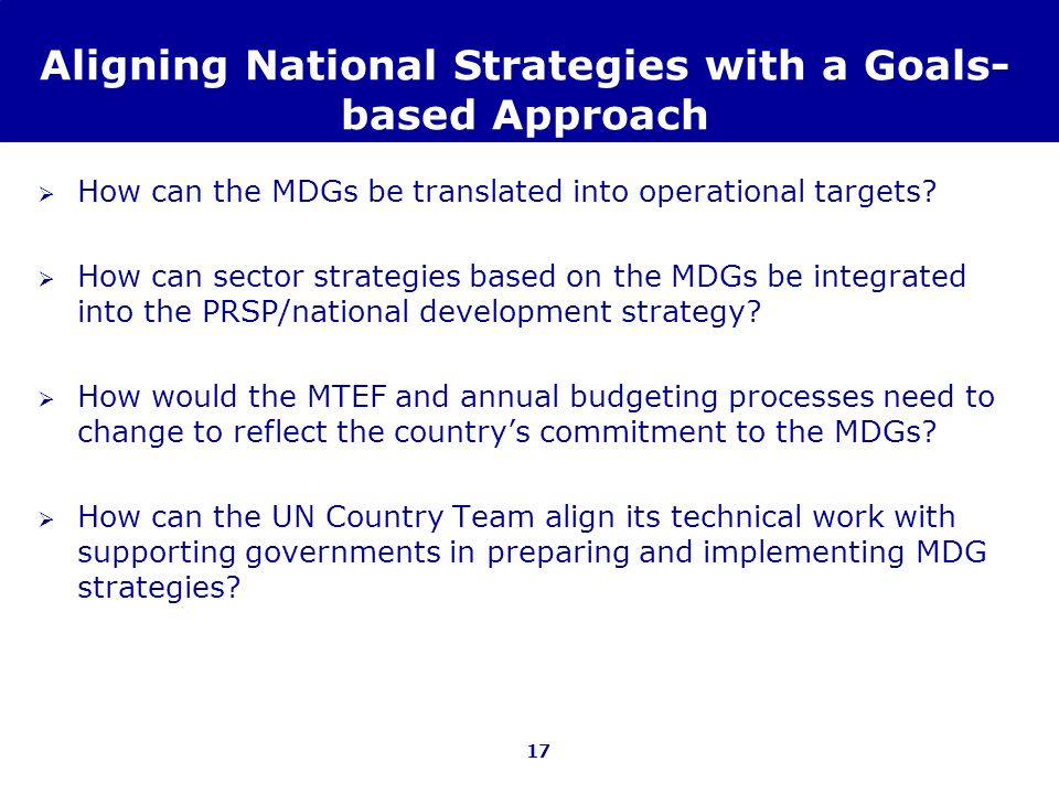 Aligning National Strategies with a Goals-based Approach