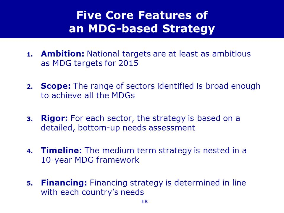 Five Core Features of an MDG-based Strategy