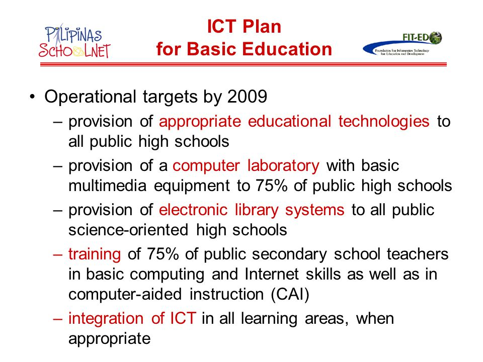ICT Plan for Basic Education
