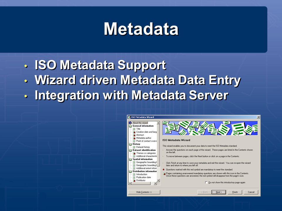 Metadata ISO Metadata Support Wizard driven Metadata Data Entry