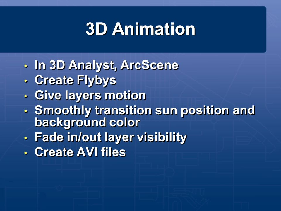 3D Animation In 3D Analyst, ArcScene Create Flybys Give layers motion