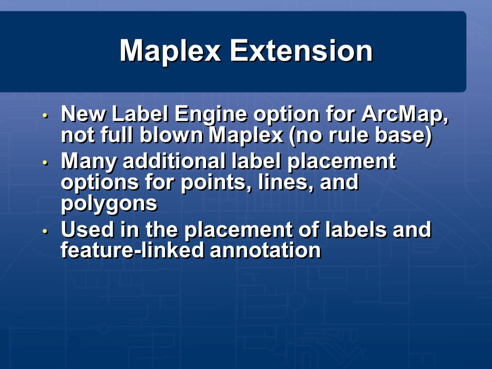 Maplex Extension New Label Engine option for ArcMap, not full blown Maplex (no rule base)