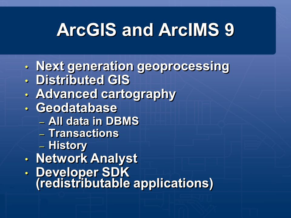 ArcGIS and ArcIMS 9 Next generation geoprocessing Distributed GIS