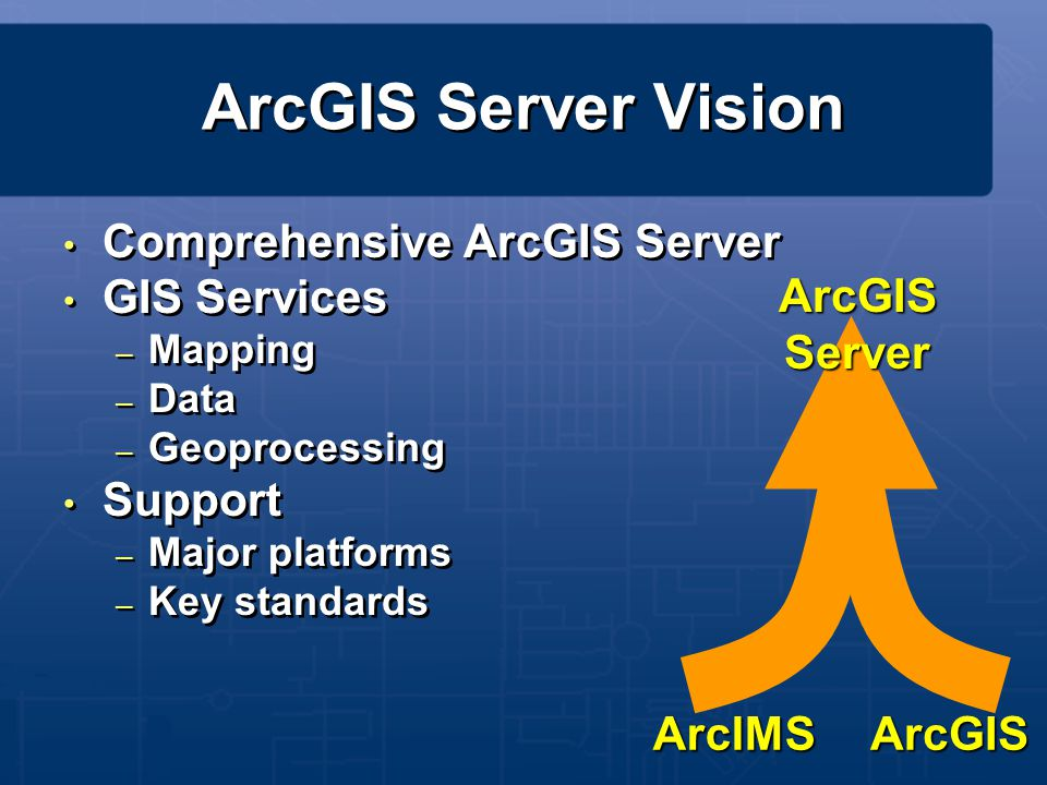 ArcGIS Server Vision Comprehensive ArcGIS Server GIS Services Support
