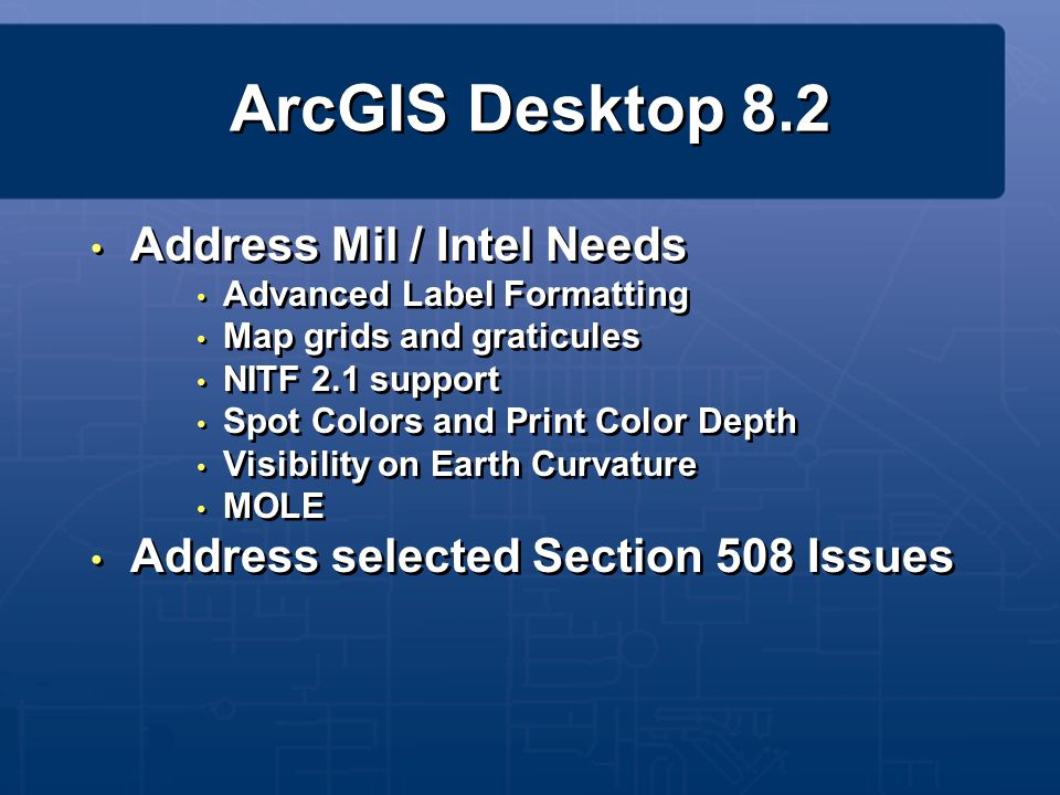 ArcGIS Desktop 8.2 Address Mil / Intel Needs