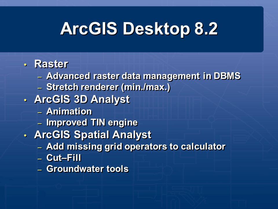 ArcGIS Desktop 8.2 Raster ArcGIS 3D Analyst ArcGIS Spatial Analyst