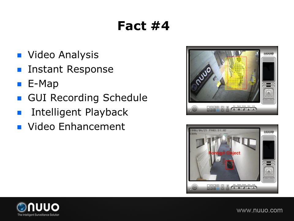 Fact #4 Video Analysis Instant Response E-Map GUI Recording Schedule
