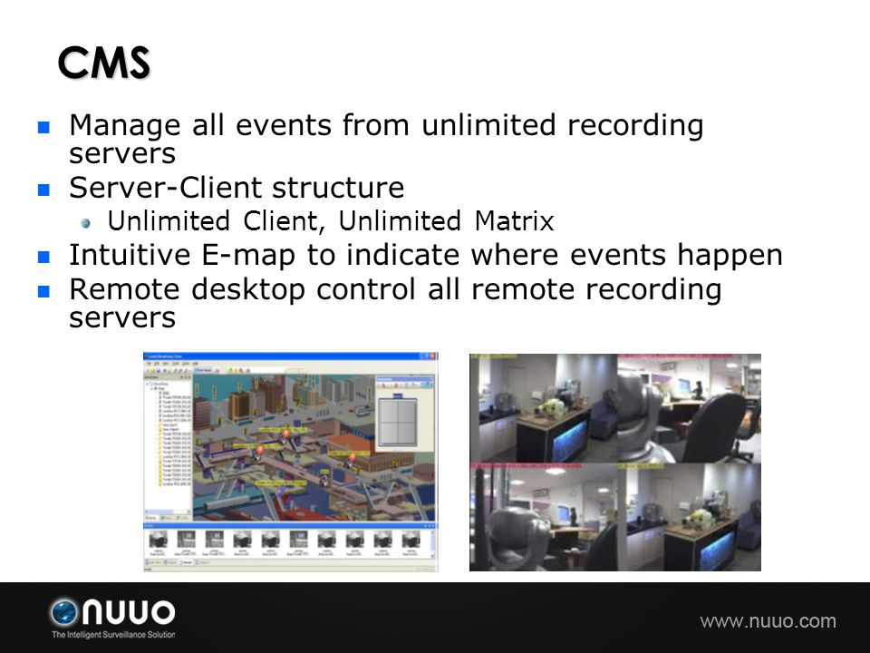 CMS Manage all events from unlimited recording servers
