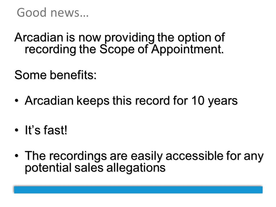 Good news… Arcadian is now providing the option of recording the Scope of Appointment. Some benefits: