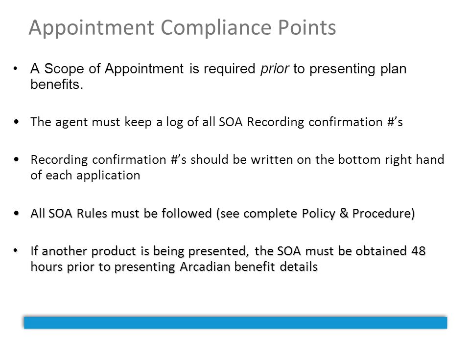 Appointment Compliance Points