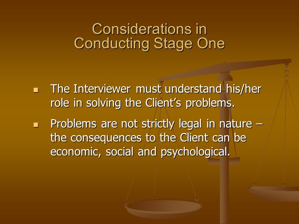 Considerations in Conducting Stage One