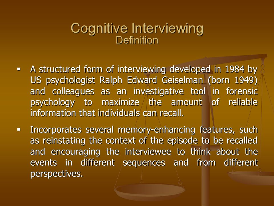 Cognitive Interviewing Definition