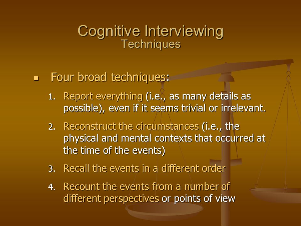 Cognitive Interviewing Techniques