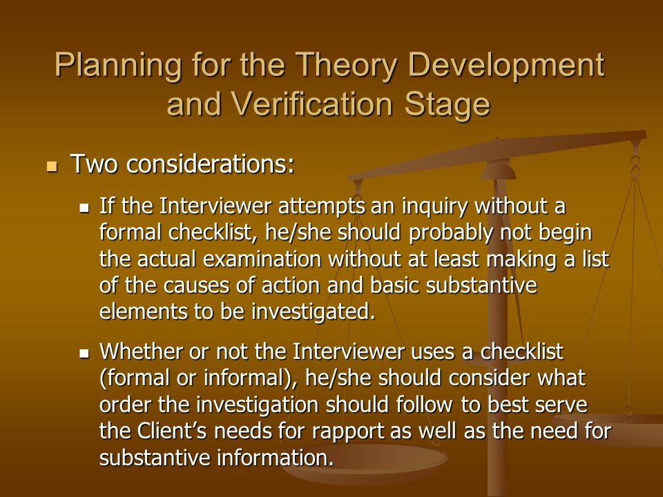Planning for the Theory Development and Verification Stage