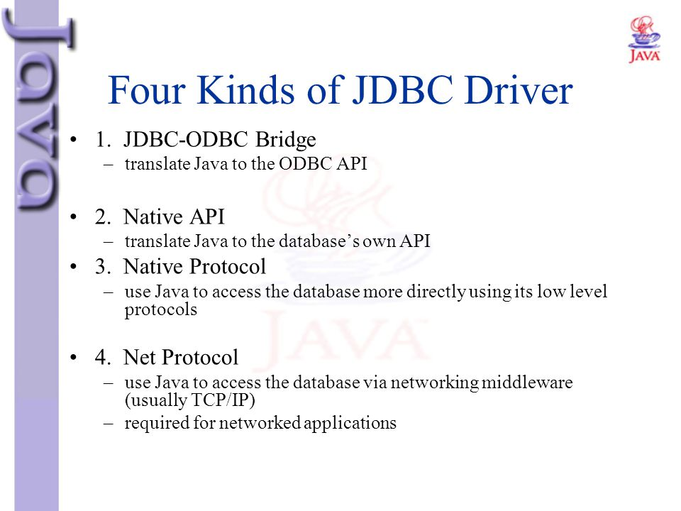 Four Kinds of JDBC Driver