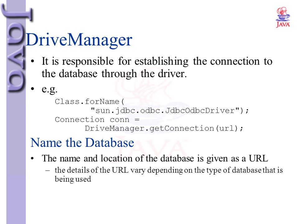 DriveManager Name the Database