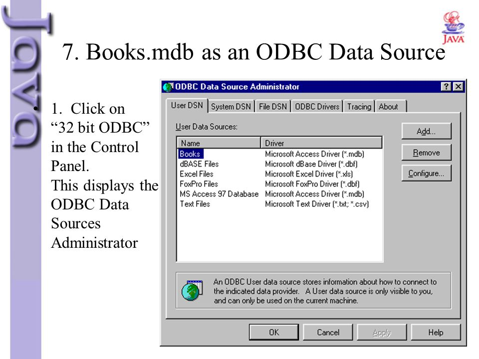 7. Books.mdb as an ODBC Data Source