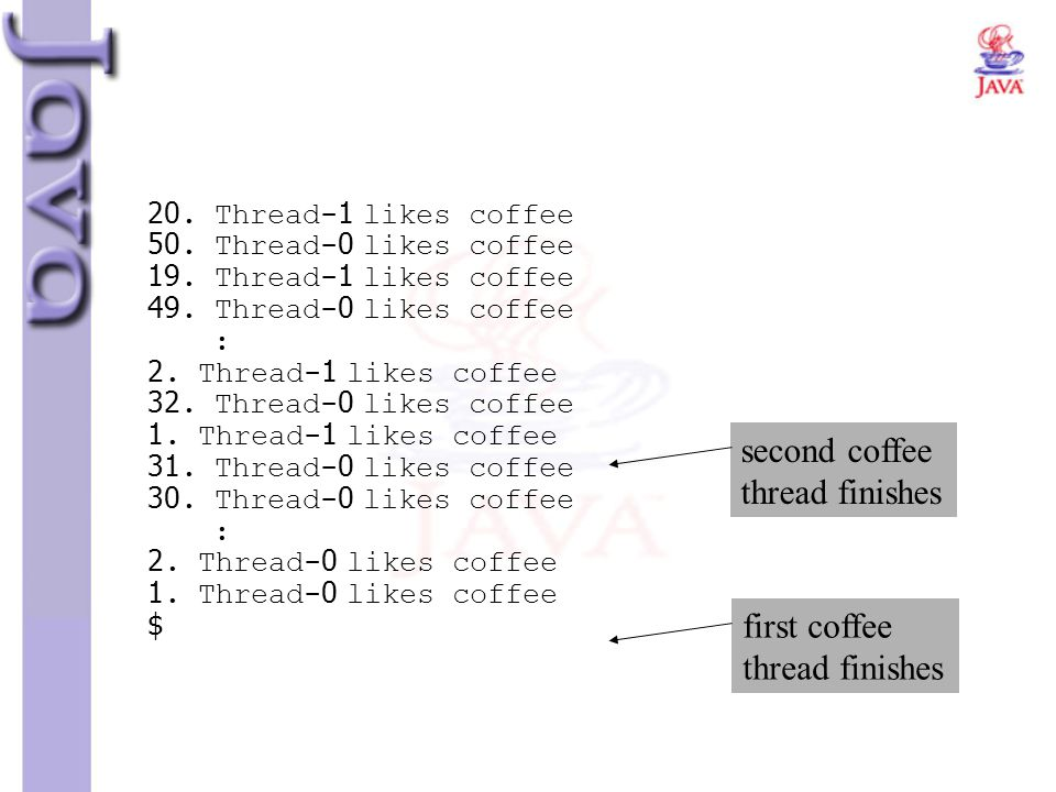 second coffee thread finishes first coffee thread finishes