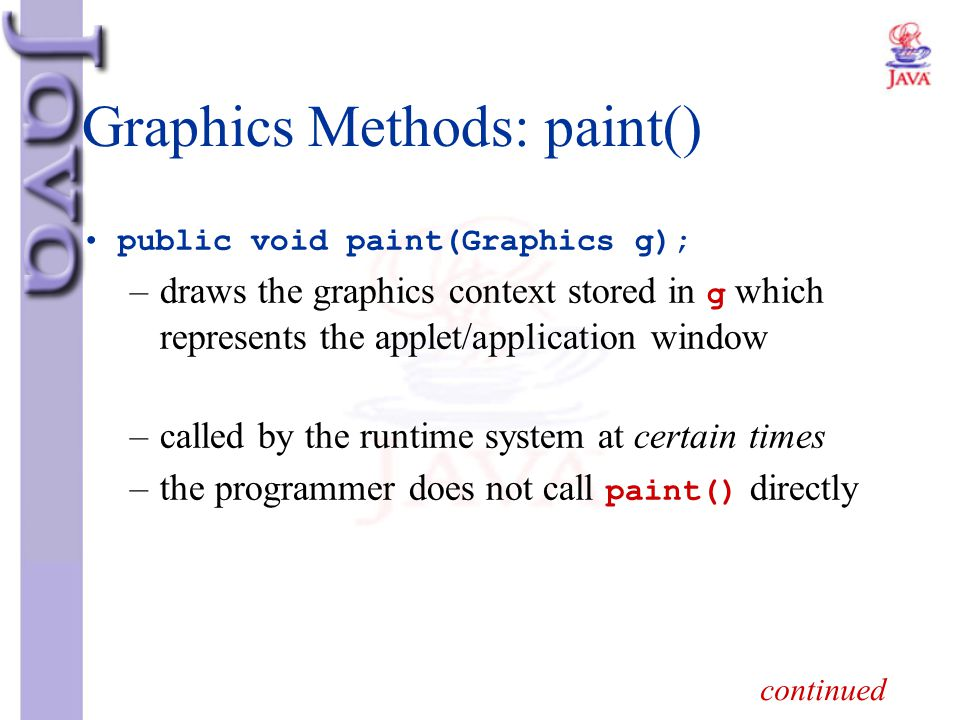 Graphics Methods: paint()