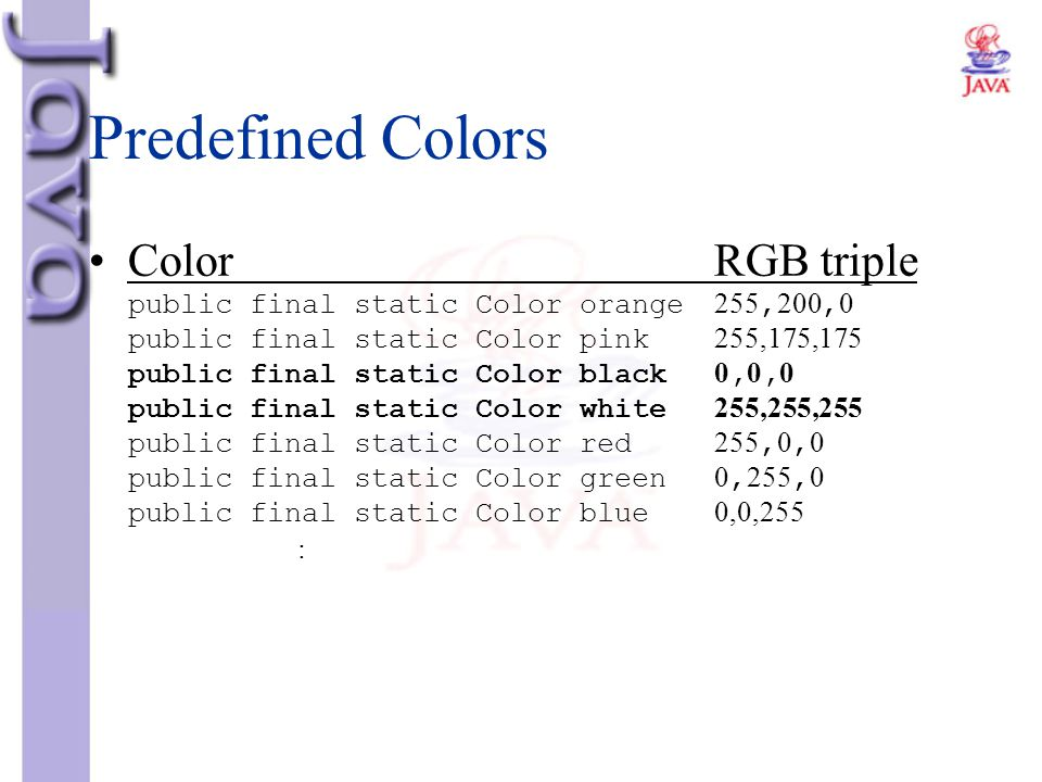 Predefined Colors