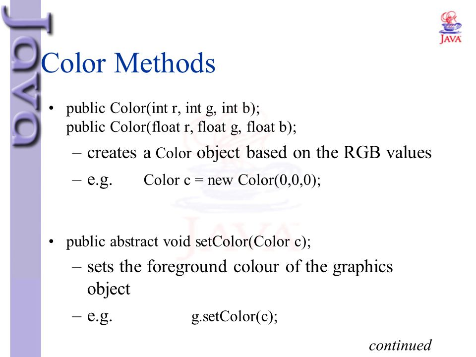 Color Methods creates a Color object based on the RGB values