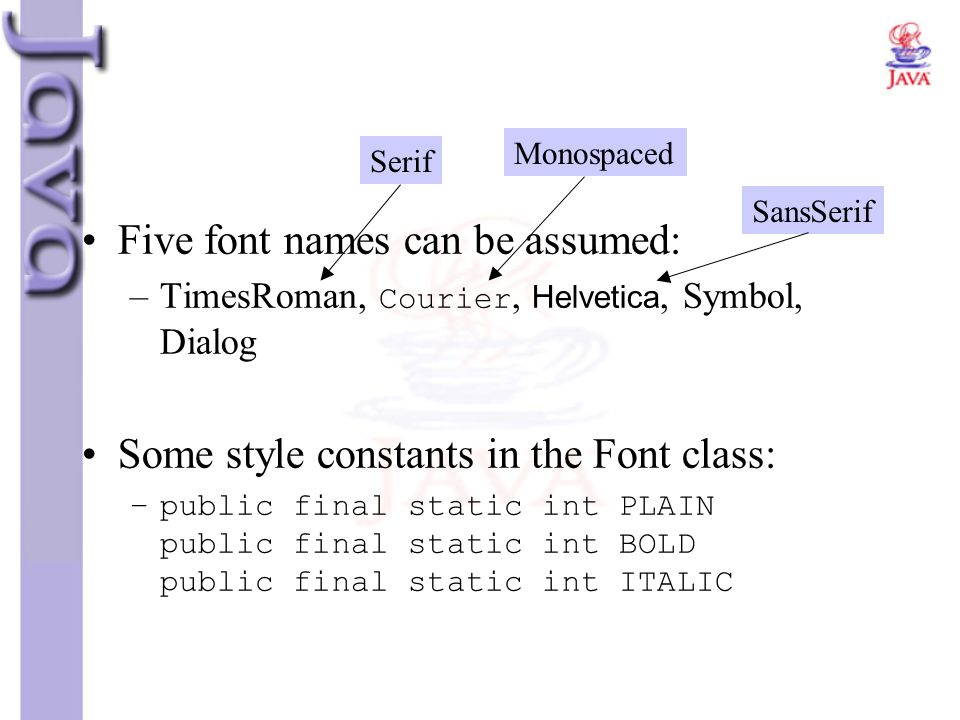 Five font names can be assumed: