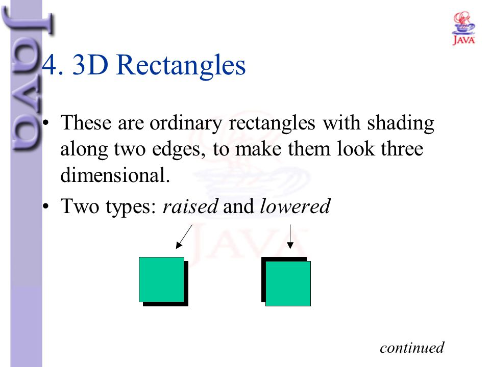 4. 3D Rectangles These are ordinary rectangles with shading along two edges, to make them look three dimensional.