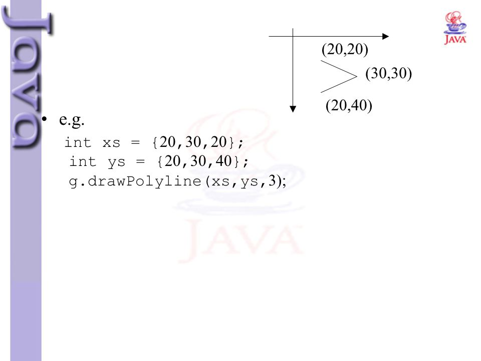 (20,20) (30,30) (20,40) e.g. int xs = {20,30,20}; int ys = {20,30,40}; g.drawPolyline(xs,ys,3);