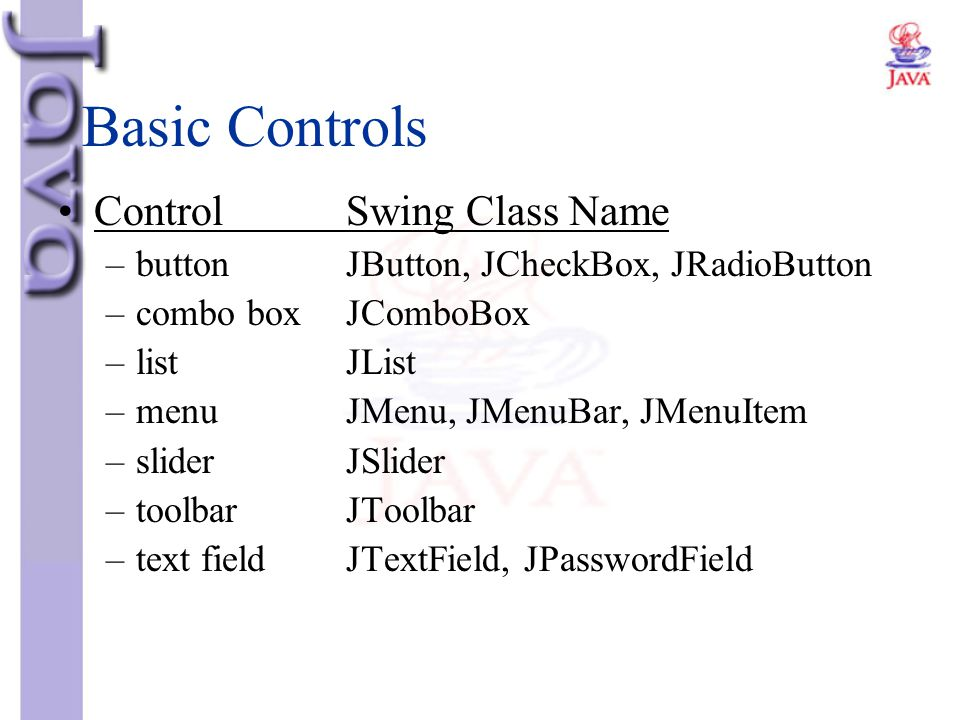 Basic Controls Control Swing Class Name